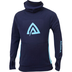 """Aclima WarmWool Hood Sweater Children Peacoat/River Blue"""